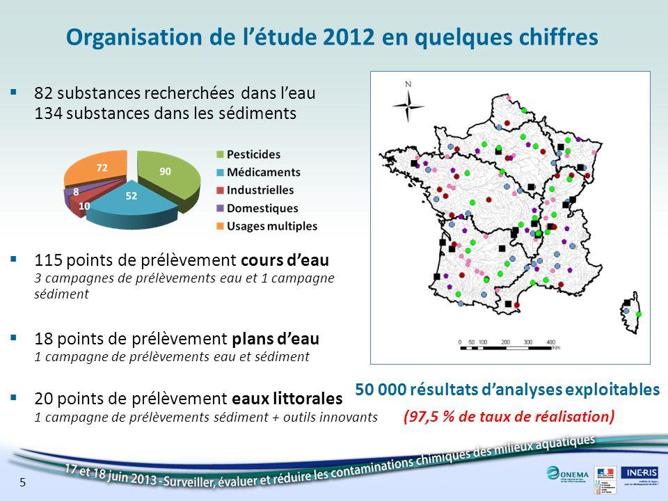 Organisation de létude 2012 en quelques chiffres 82 substances recherchées dans leau 134 substances dans les sédiments 115 points de prélèvement cours