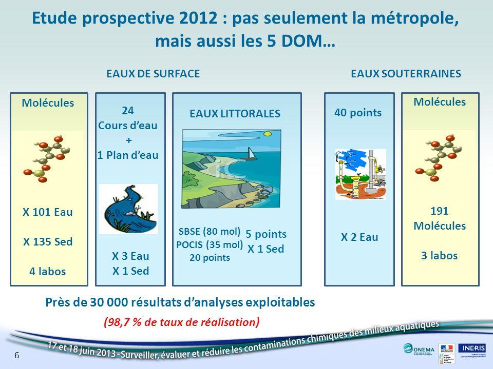 Etude prospective 2012 : pas seulement la métropole, mais aussi les 5 DOM… 24 Cours deau + 1 Plan deau X 101 Eau X 135 Sed 4 labos Molécules X 3 Eau X