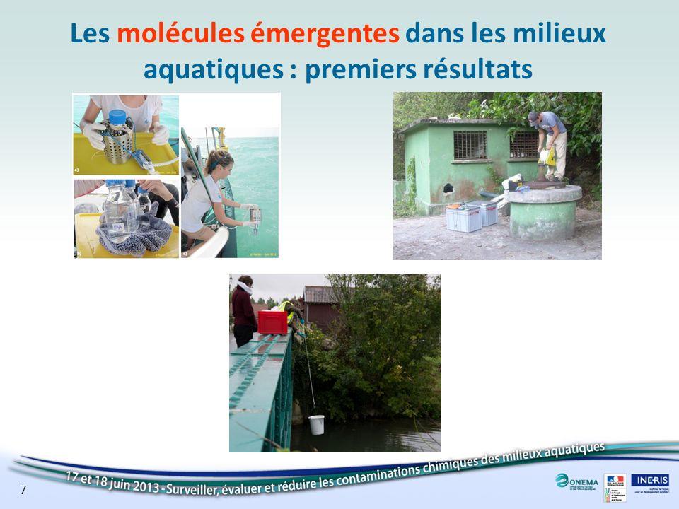 Occurrence des molécules émergentes dans les eaux souterraines Répartition des substances quantifiées par grande famille dusage ESOU métropoleESOU DOM 8