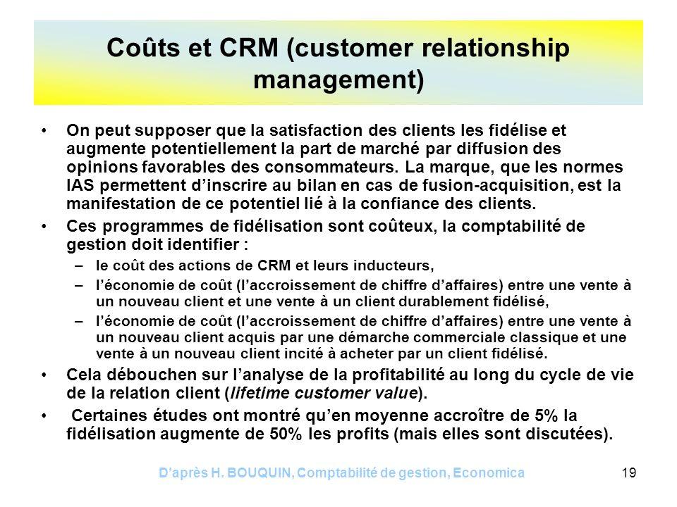 Daprès H. BOUQUIN, Comptabilité de gestion, Economica19 On peut supposer que la satisfaction des clients les fidélise et augmente potentiellement la p