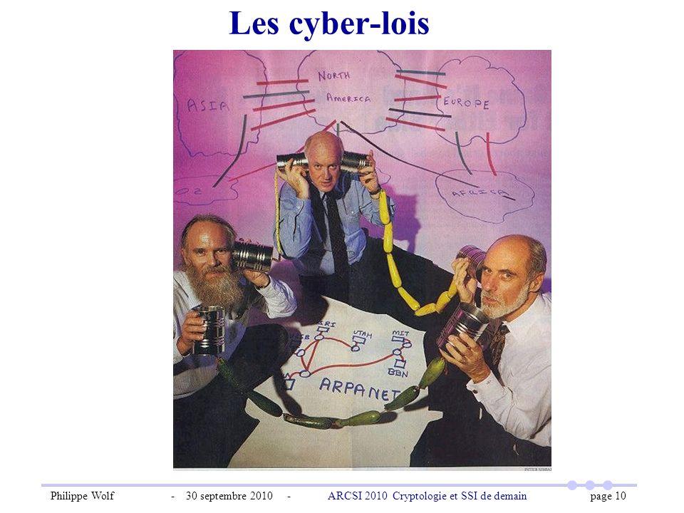 Philippe Wolf - 30 septembre 2010 - ARCSI 2010 Cryptologie et SSI de demain page 10 Les cyber-lois