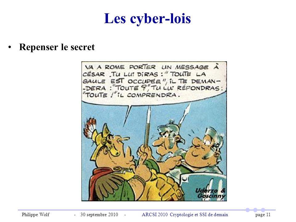 Philippe Wolf - 30 septembre 2010 - ARCSI 2010 Cryptologie et SSI de demain page 11 Les cyber-lois Repenser le secret