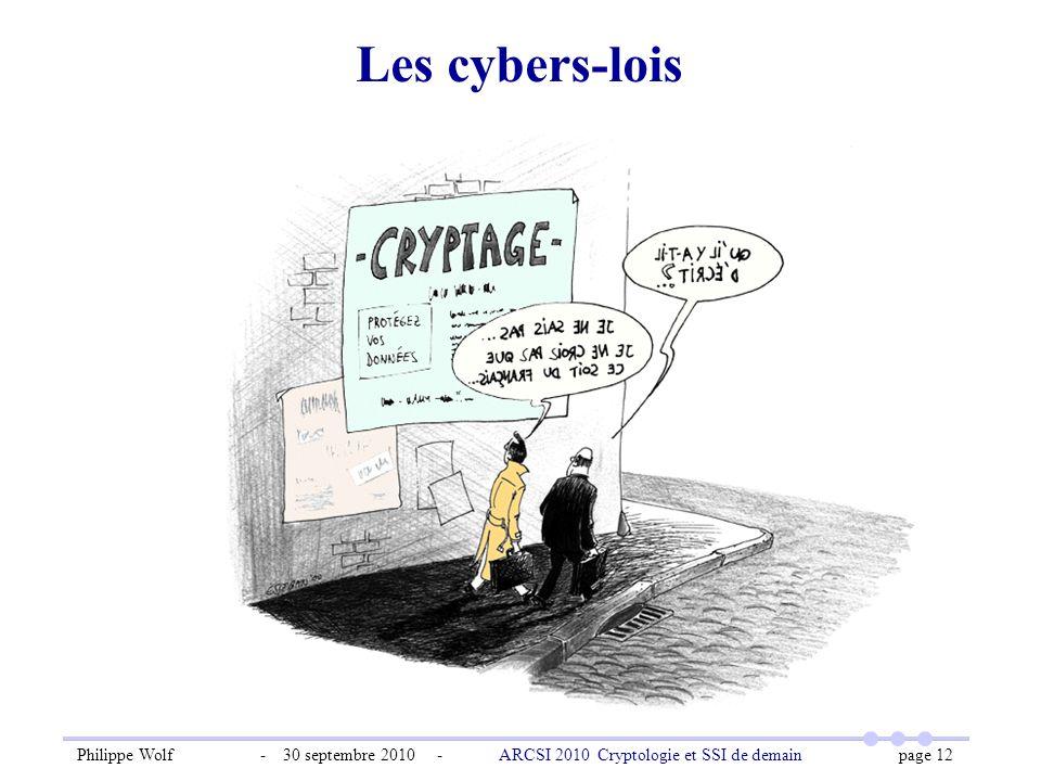 Philippe Wolf - 30 septembre 2010 - ARCSI 2010 Cryptologie et SSI de demain page 12 Les cybers-lois