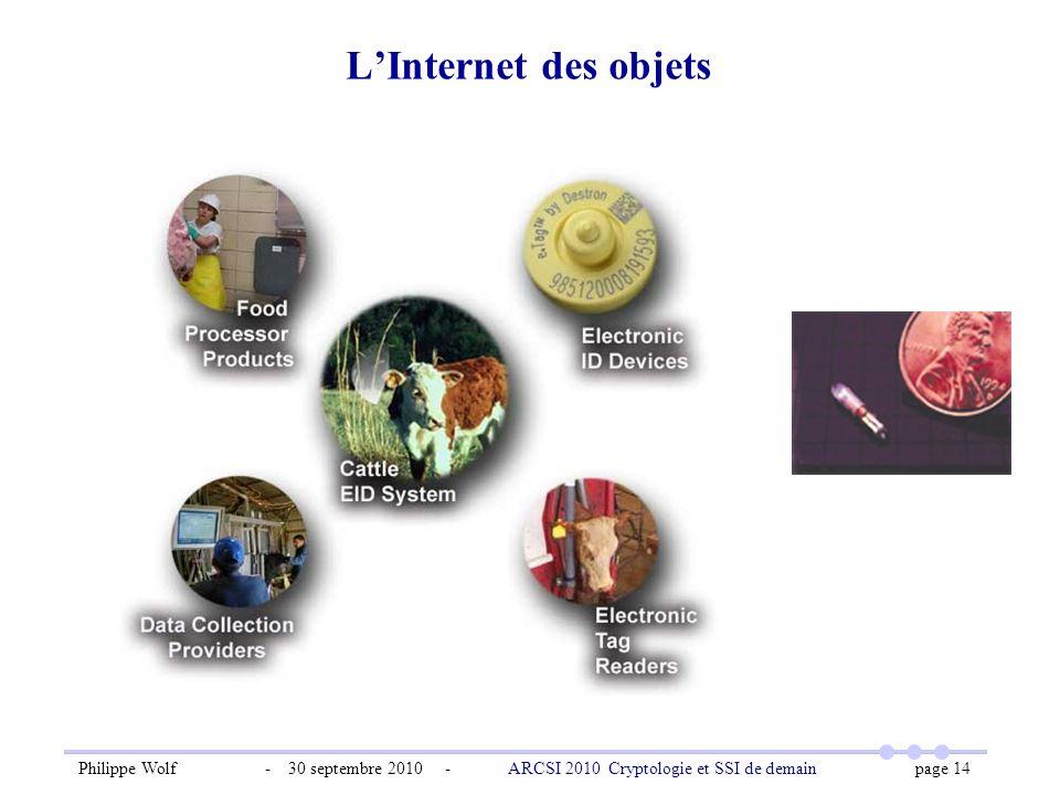 Philippe Wolf - 30 septembre 2010 - ARCSI 2010 Cryptologie et SSI de demain page 14 LInternet des objets