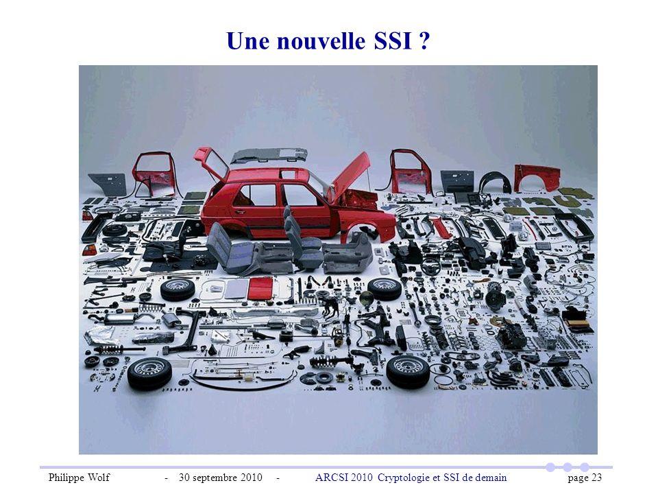 Philippe Wolf - 30 septembre 2010 - ARCSI 2010 Cryptologie et SSI de demain page 23 Une nouvelle SSI ?