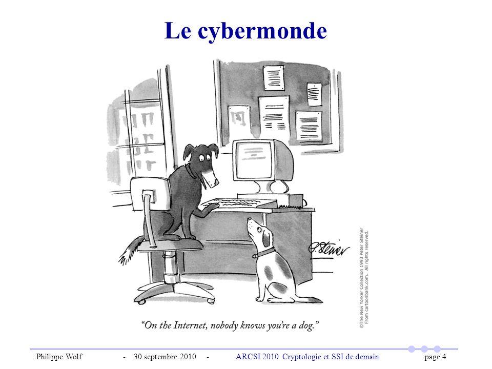 Philippe Wolf - 30 septembre 2010 - ARCSI 2010 Cryptologie et SSI de demain page 4 Le cybermonde