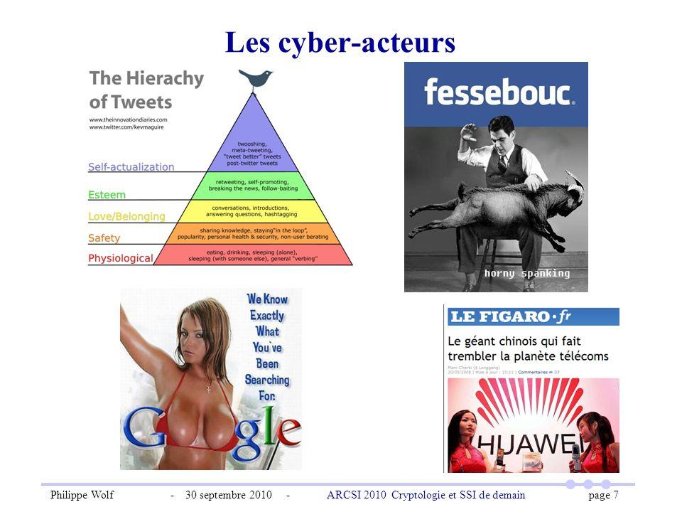 Philippe Wolf - 30 septembre 2010 - ARCSI 2010 Cryptologie et SSI de demain page 7 Les cyber-acteurs