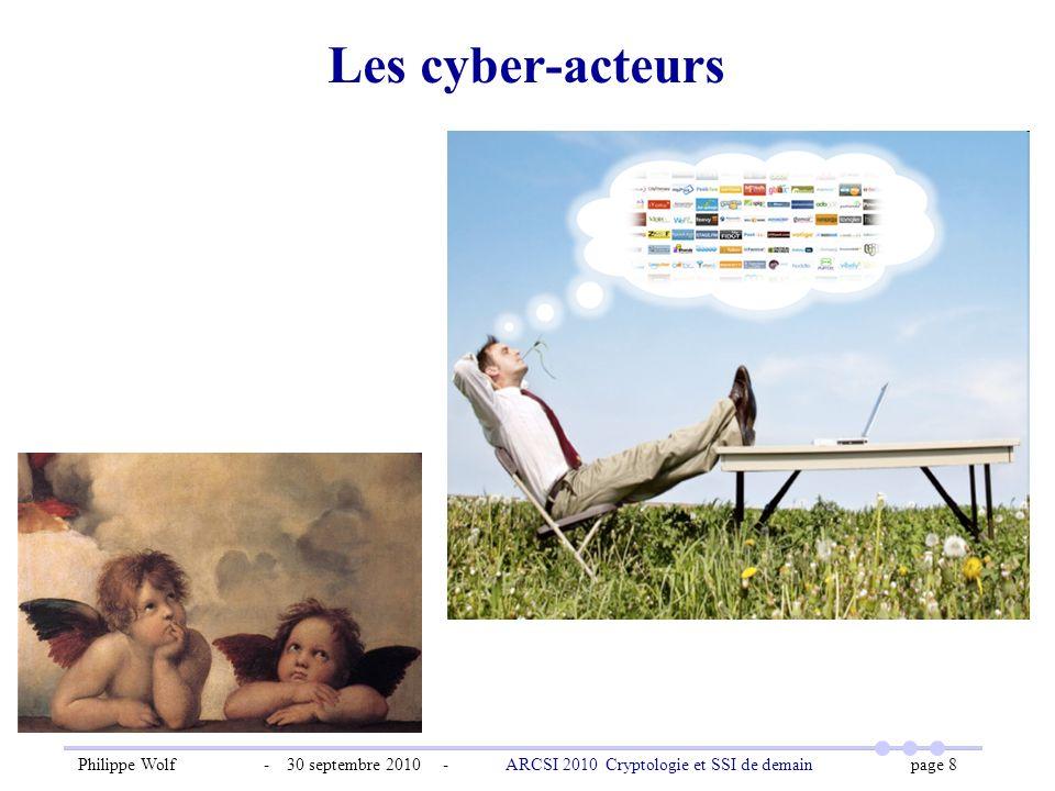 Philippe Wolf - 30 septembre 2010 - ARCSI 2010 Cryptologie et SSI de demain page 8 Les cyber-acteurs