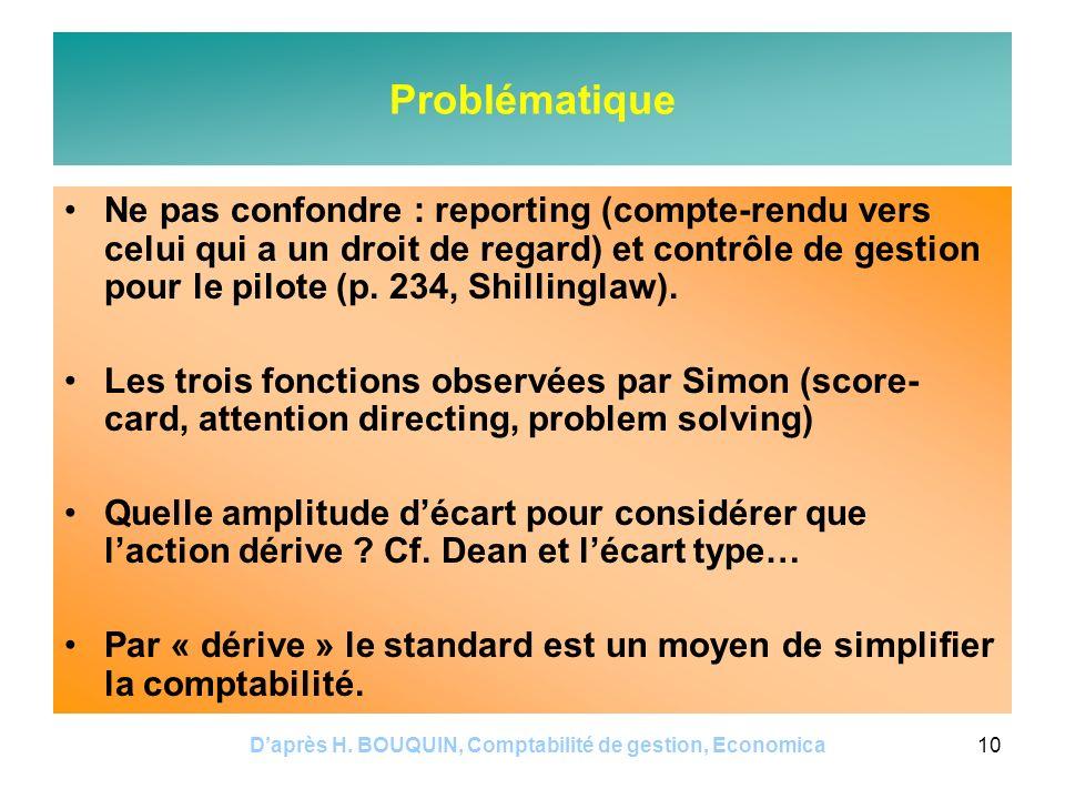 Daprès H. BOUQUIN, Comptabilité de gestion, Economica10 Problématique Ne pas confondre : reporting (compte-rendu vers celui qui a un droit de regard)