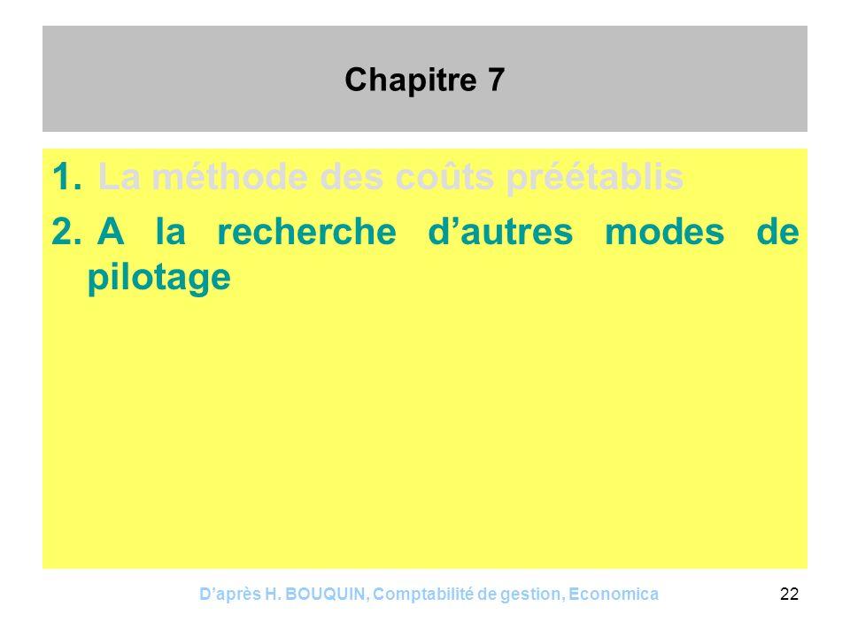 Daprès H. BOUQUIN, Comptabilité de gestion, Economica22 Chapitre 7 1. La méthode des coûts préétablis 2. A la recherche dautres modes de pilotage