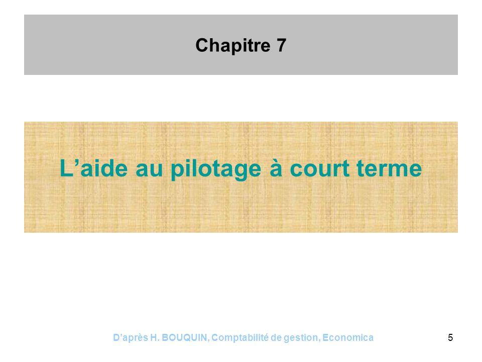 Daprès H. BOUQUIN, Comptabilité de gestion, Economica5 Chapitre 7 Laide au pilotage à court terme