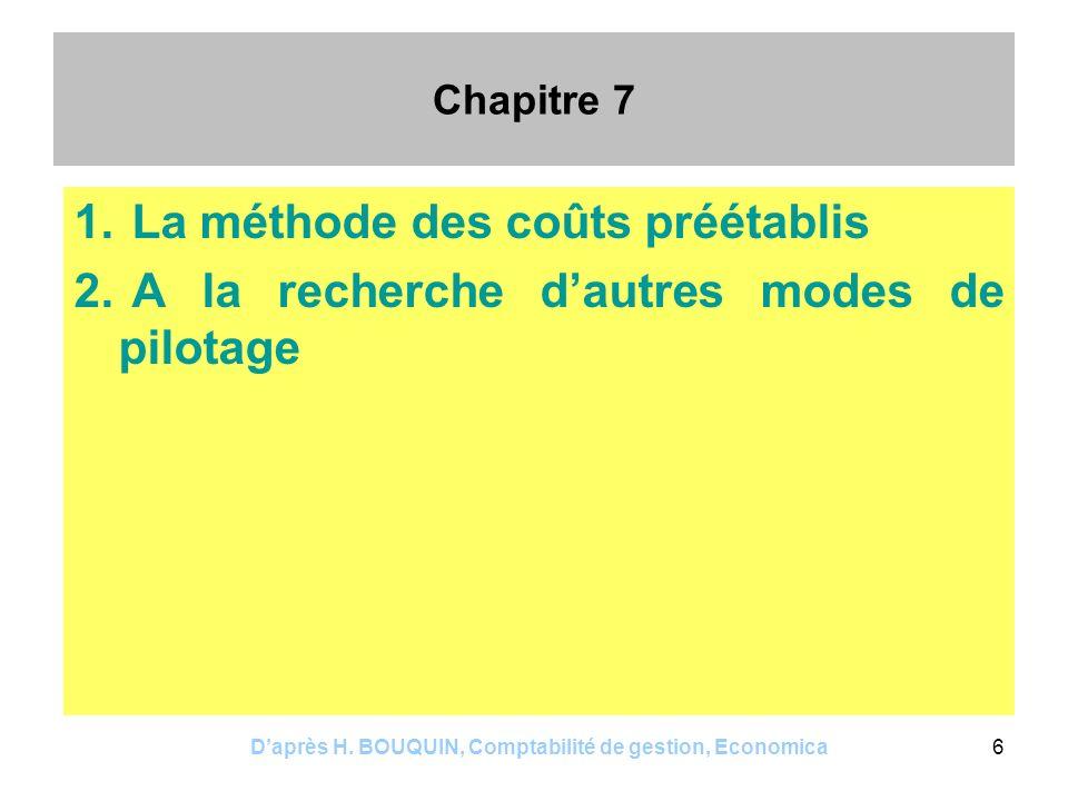 Daprès H. BOUQUIN, Comptabilité de gestion, Economica6 Chapitre 7 1. La méthode des coûts préétablis 2. A la recherche dautres modes de pilotage