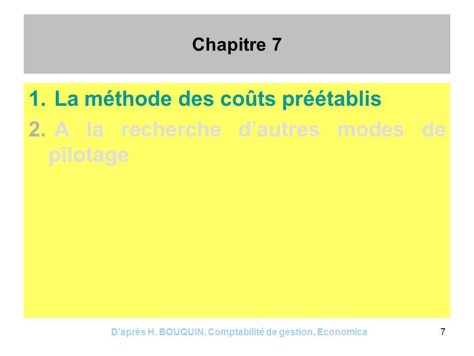 Daprès H. BOUQUIN, Comptabilité de gestion, Economica7 Chapitre 7 1. La méthode des coûts préétablis 2. A la recherche dautres modes de pilotage