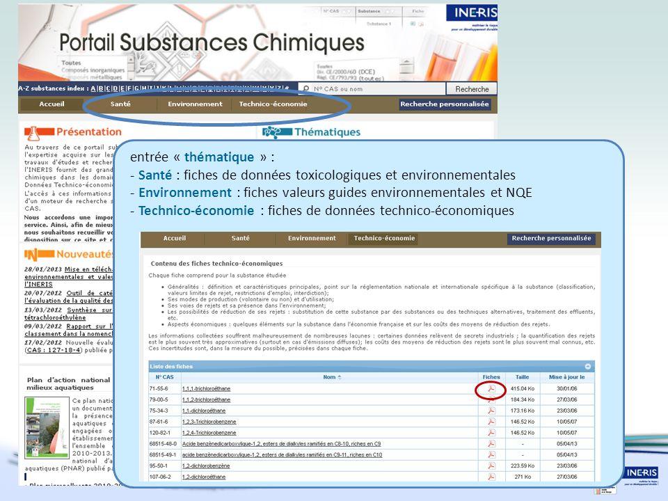 entrée « thématique » : - Santé : fiches de données toxicologiques et environnementales - Environnement : fiches valeurs guides environnementales et NQE - Technico-économie : fiches de données technico-économiques
