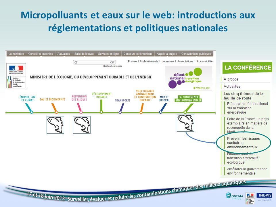 Micropolluants et eaux sur le web: introductions aux réglementations et politiques nationales