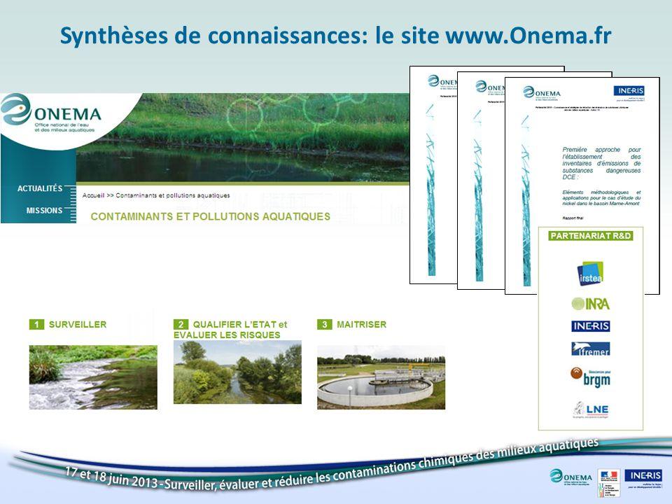 Synthèses de connaissances: le site www.Onema.fr
