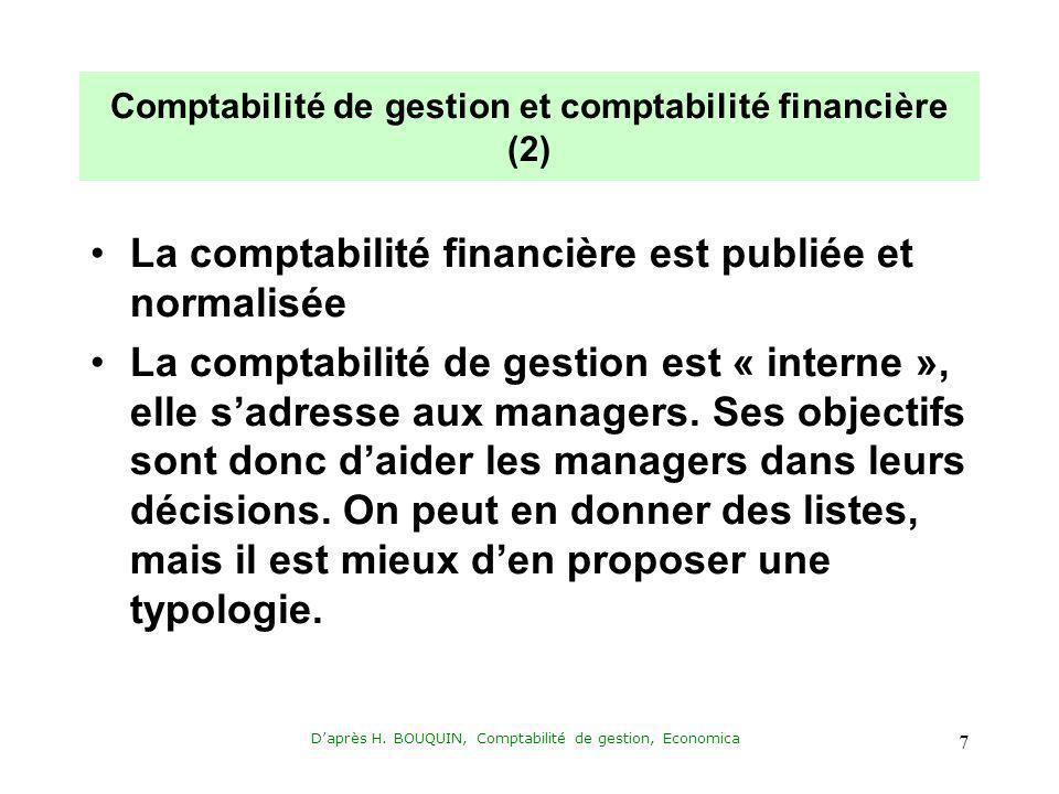Daprès H. BOUQUIN, Comptabilité de gestion, Economica 7 Comptabilité de gestion et comptabilité financière (2) La comptabilité financière est publiée