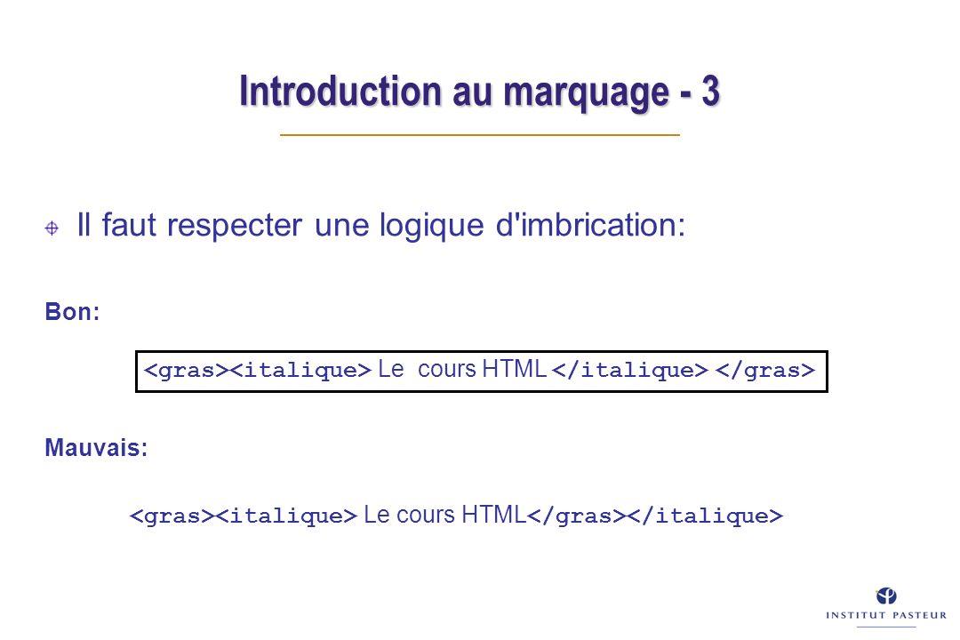 Introduction au marquage - 3 Il faut respecter une logique d'imbrication: Bon: Mauvais: Le cours HTML