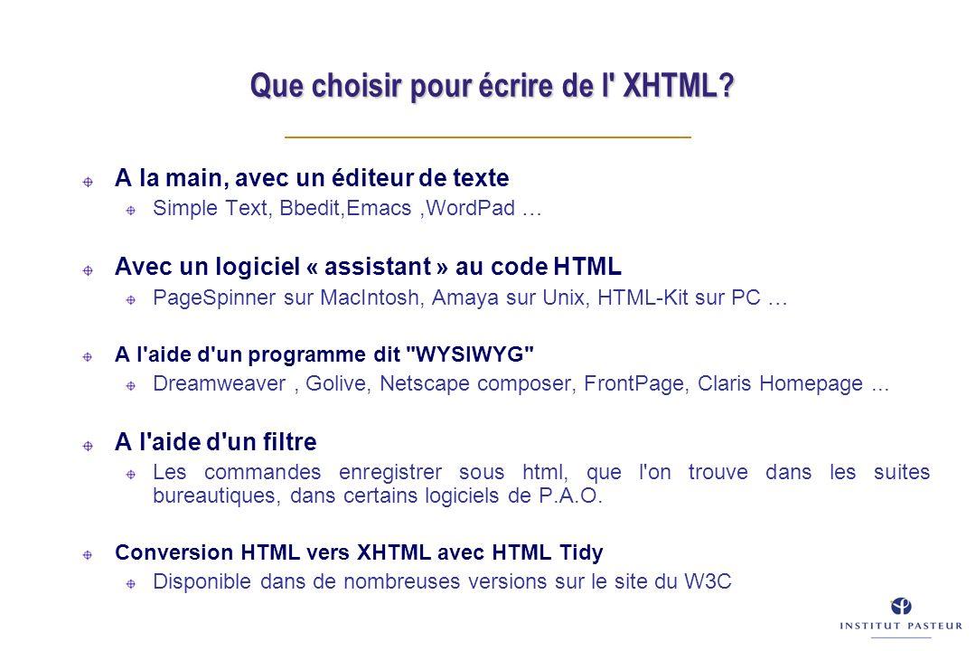 Que choisir pour écrire de l' XHTML? A la main, avec un éditeur de texte Simple Text, Bbedit,Emacs,WordPad … Avec un logiciel « assistant » au code HT