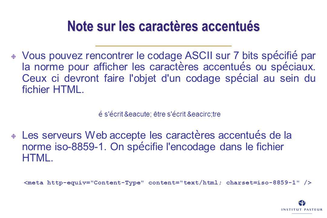 Note sur les caractères accentués Vous pouvez rencontrer le codage ASCII sur 7 bits sp é cifi é par la norme pour afficher les caract è res accentu é
