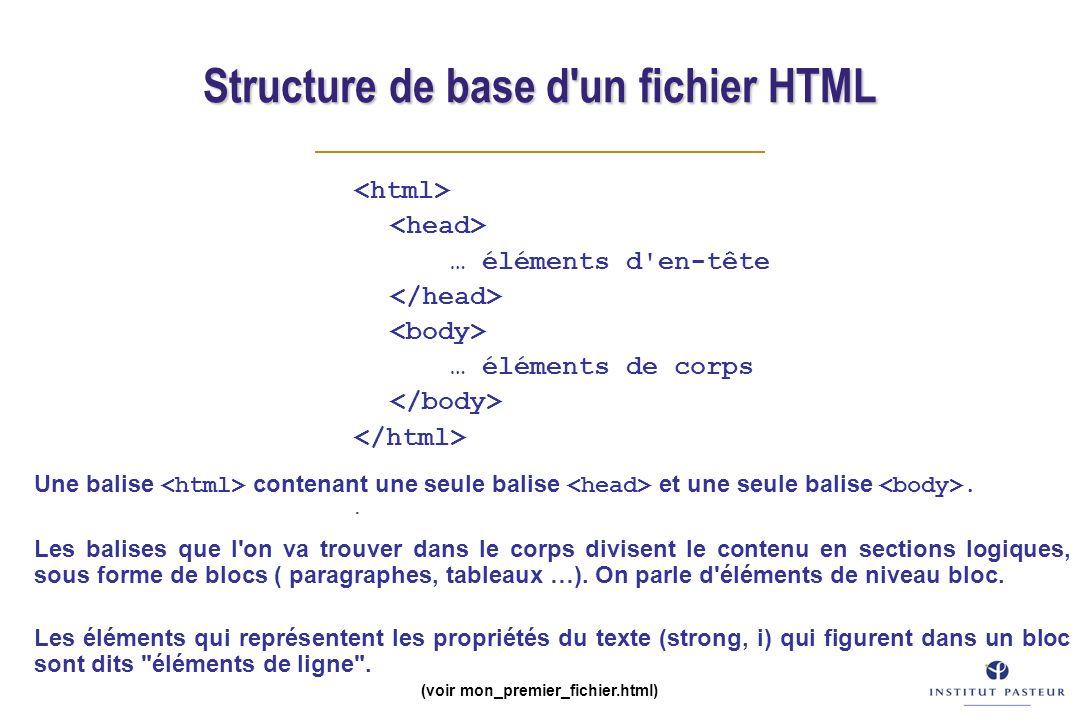 Structure de base d'un fichier HTML … éléments d'en-tête … éléments de corps. (voir mon_premier_fichier.html) Une balise contenant une seule balise et