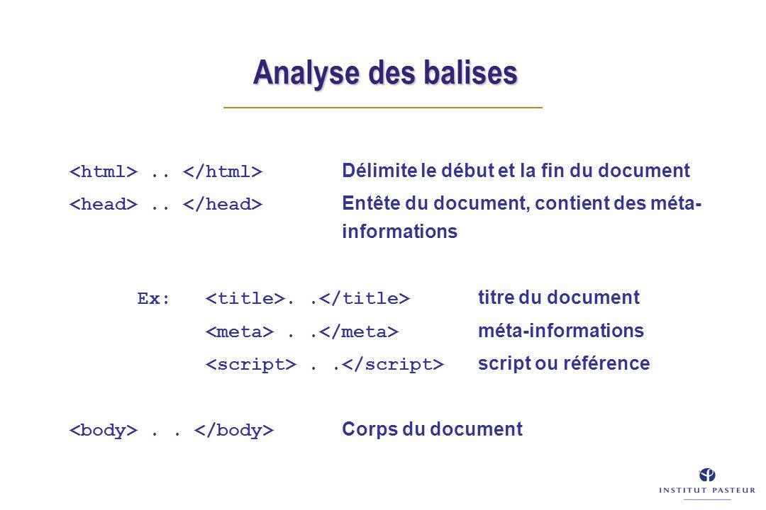 Analyse des balises.. Délimite le début et la fin du document.. Entête du document, contient des méta- informations Ex:.. titre du document.. méta-inf
