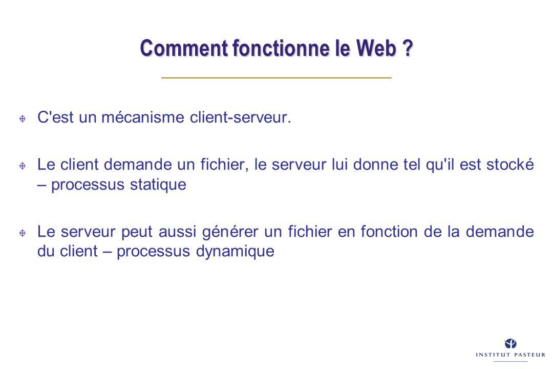 Comment fonctionne le Web ? C'est un mécanisme client-serveur. Le client demande un fichier, le serveur lui donne tel qu'il est stocké – processus sta