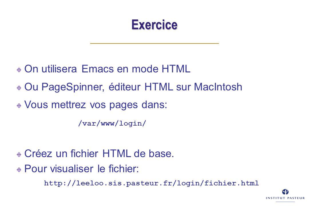 Exercice On utilisera Emacs en mode HTML Ou PageSpinner, éditeur HTML sur MacIntosh Vous mettrez vos pages dans: /var/www/login/ Créez un fichier HTML
