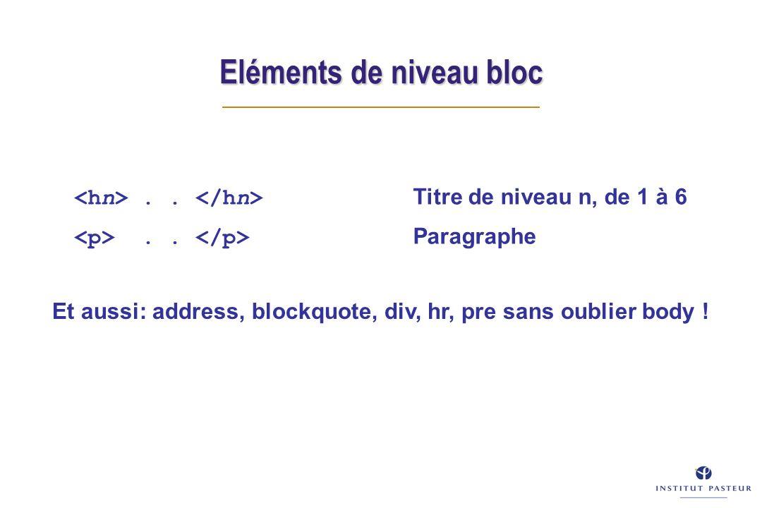 Eléments de niveau bloc.. Titre de niveau n, de 1 à 6.. Paragraphe Et aussi: address, blockquote, div, hr, pre sans oublier body !
