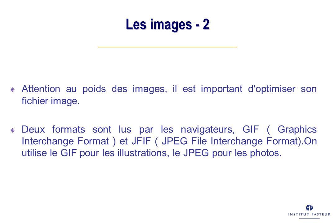 Les images - 2 Attention au poids des images, il est important d'optimiser son fichier image. Deux formats sont lus par les navigateurs, GIF ( Graphic