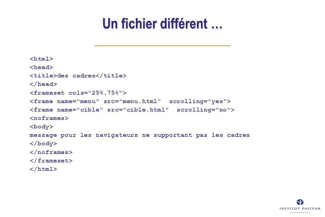 Un fichier différent … des cadres message pour les navigateurs ne supportant pas les cadres