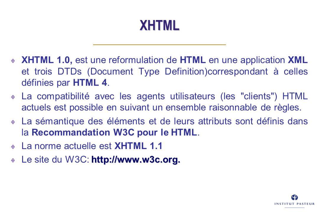 XHTML XHTML 1.0, est une reformulation de HTML en une application XML et trois DTDs (Document Type Definition)correspondant à celles définies par HTML 4.