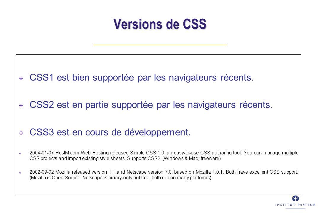 Versions de CSS CSS1 est bien supportée par les navigateurs récents. CSS2 est en partie supportée par les navigateurs récents. CSS3 est en cours de dé
