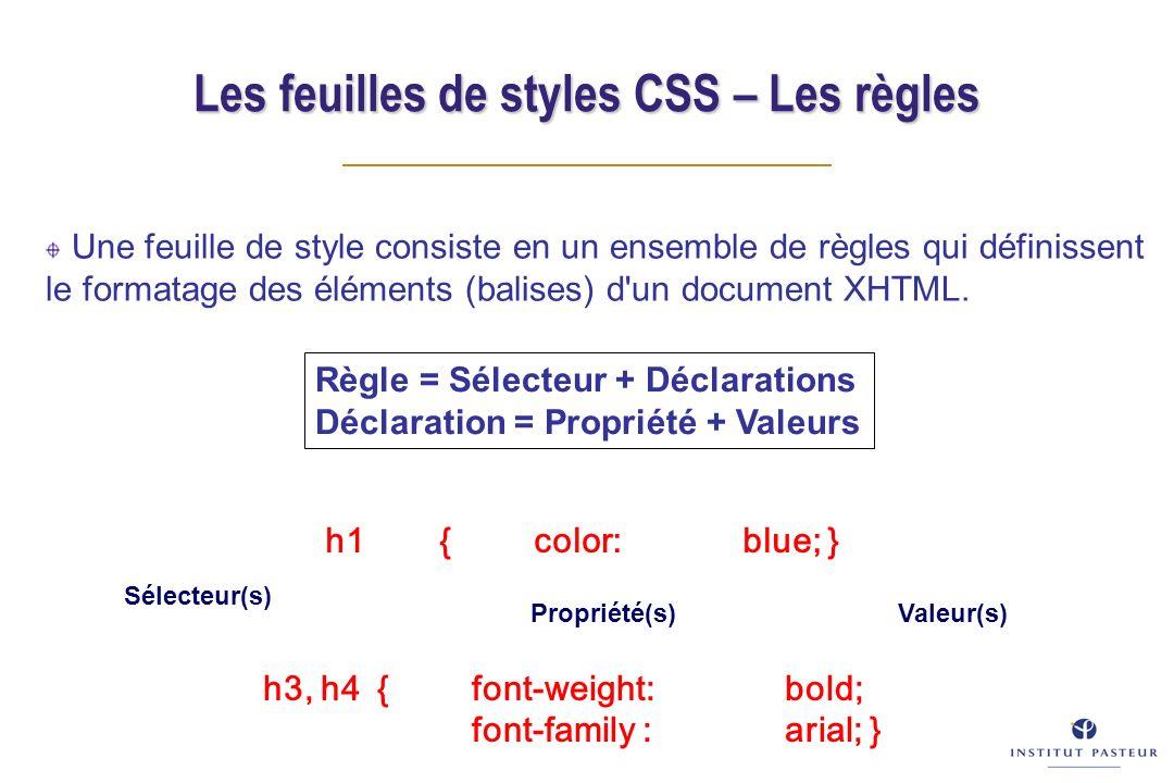 Les feuilles de styles CSS – Les règles Une feuille de style consiste en un ensemble de règles qui définissent le formatage des éléments (balises) d un document XHTML.