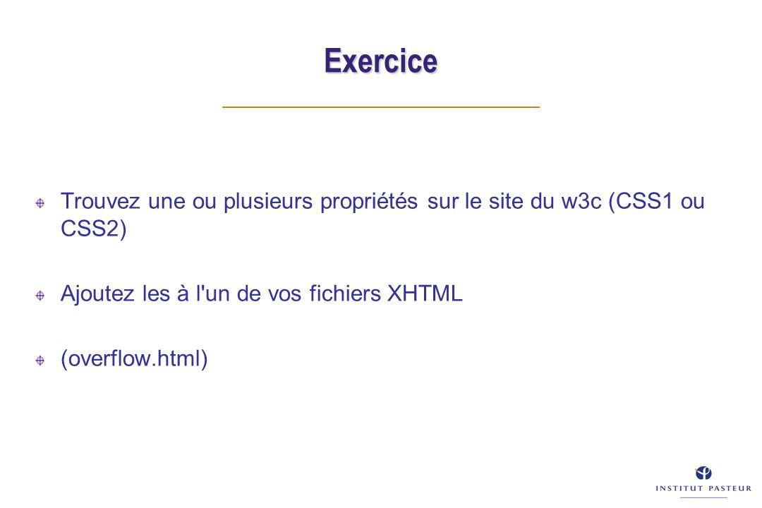 Exercice Trouvez une ou plusieurs propriétés sur le site du w3c (CSS1 ou CSS2) Ajoutez les à l un de vos fichiers XHTML (overflow.html)