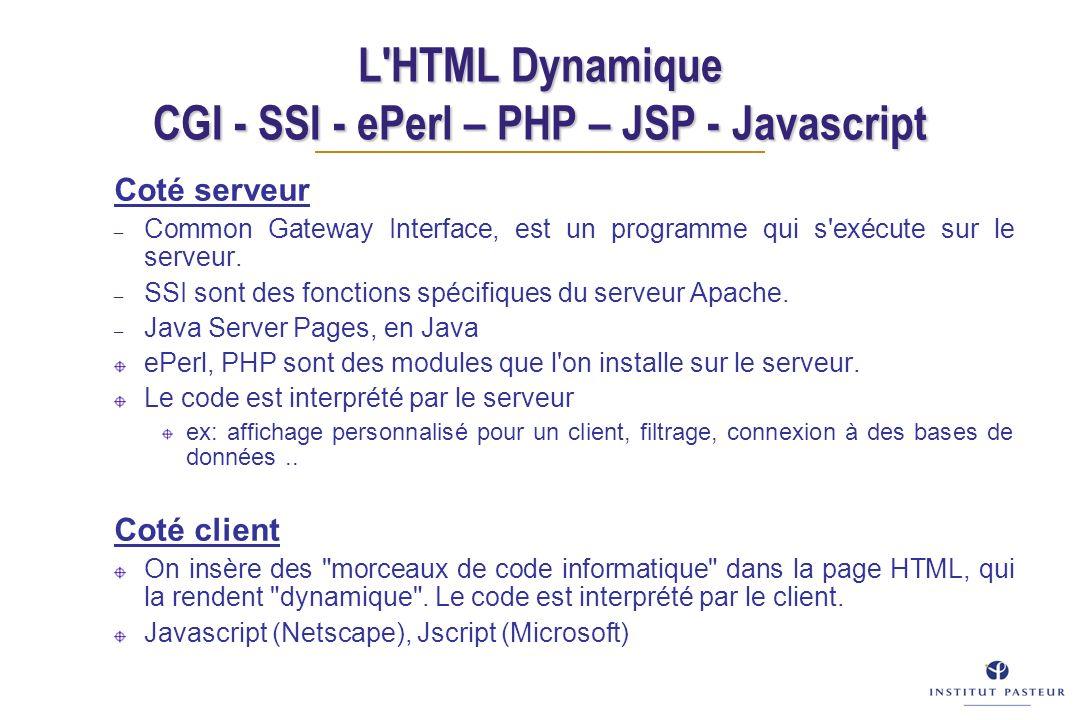 L'HTML Dynamique CGI - SSI - ePerl – PHP – JSP - Javascript Coté serveur – Common Gateway Interface, est un programme qui s'exécute sur le serveur. –