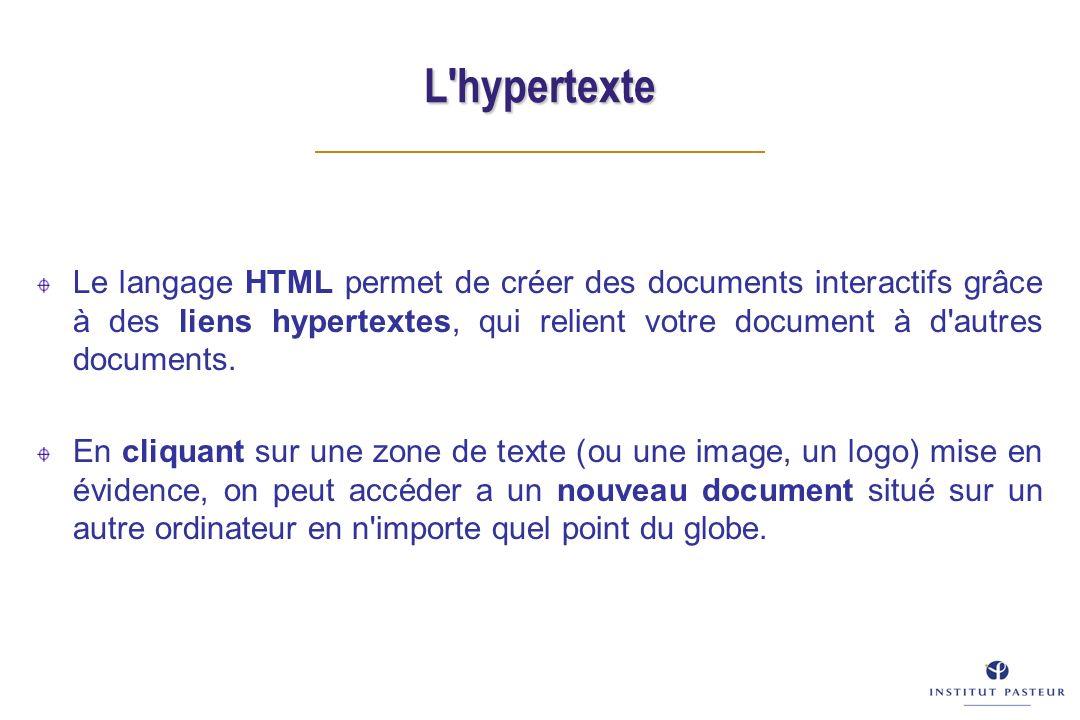 L'hypertexte Le langage HTML permet de créer des documents interactifs grâce à des liens hypertextes, qui relient votre document à d'autres documents.