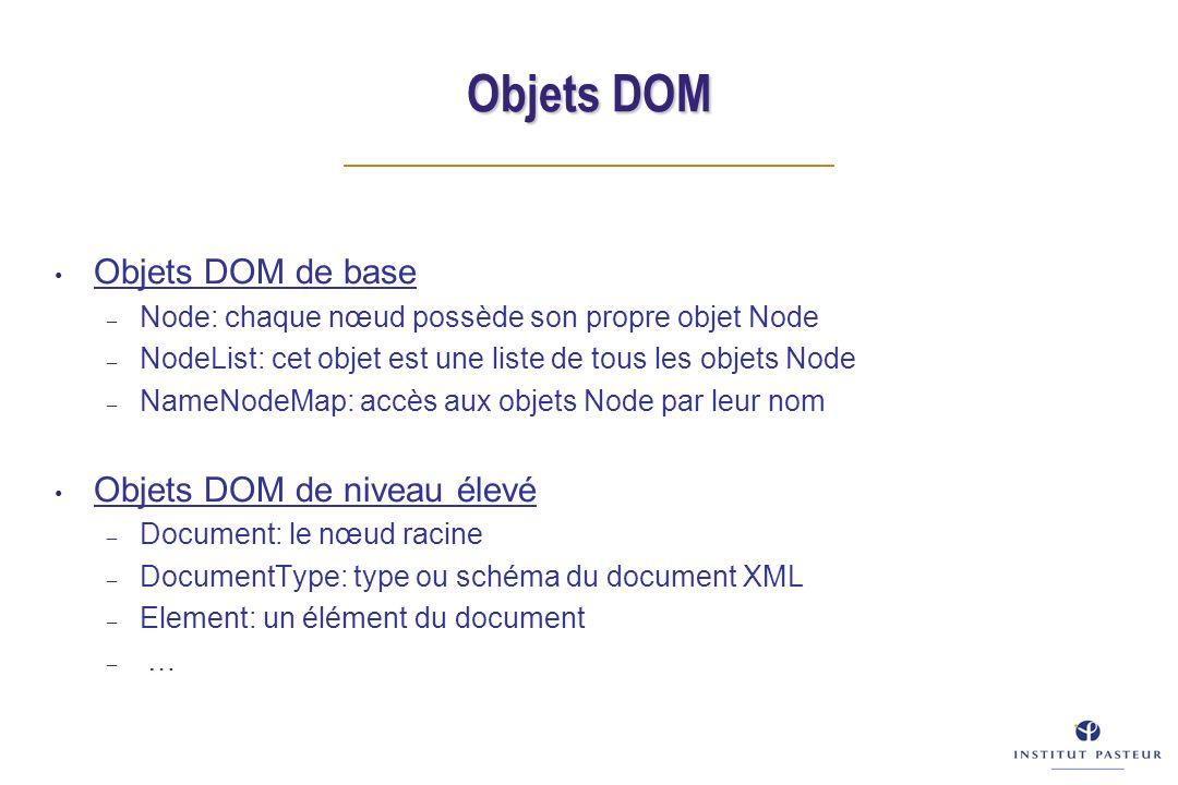 Objets DOM Objets DOM de base – Node: chaque nœud possède son propre objet Node – NodeList: cet objet est une liste de tous les objets Node – NameNodeMap: accès aux objets Node par leur nom Objets DOM de niveau élevé – Document: le nœud racine – DocumentType: type ou schéma du document XML – Element: un élément du document – …