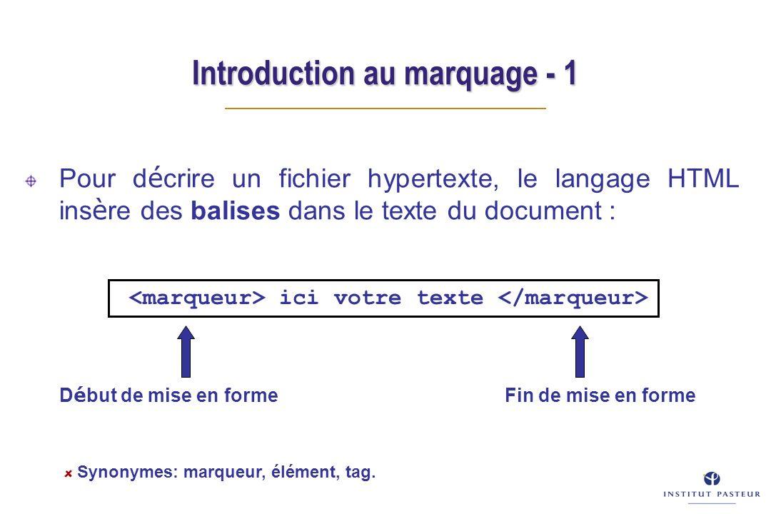 Introduction au marquage - 1 Pour d é crire un fichier hypertexte, le langage HTML ins è re des balises dans le texte du document : D é but de mise en