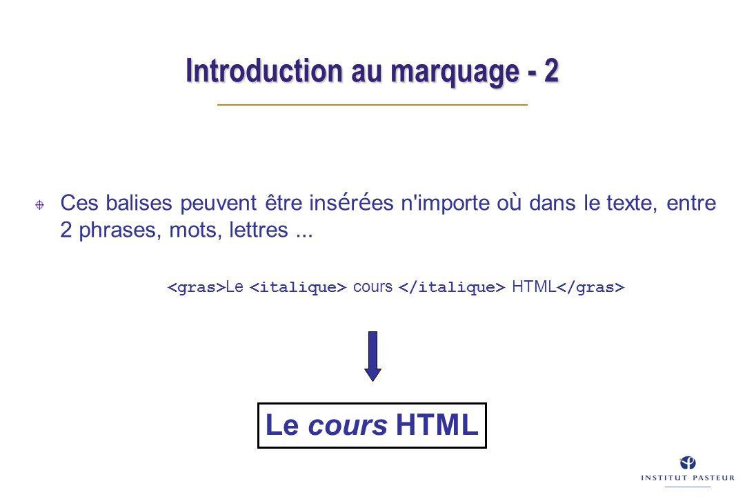 Introduction au marquage - 2 Ces balises peuvent être ins é r é es n'importe o ù dans le texte, entre 2 phrases, mots, lettres … Le cours HTML
