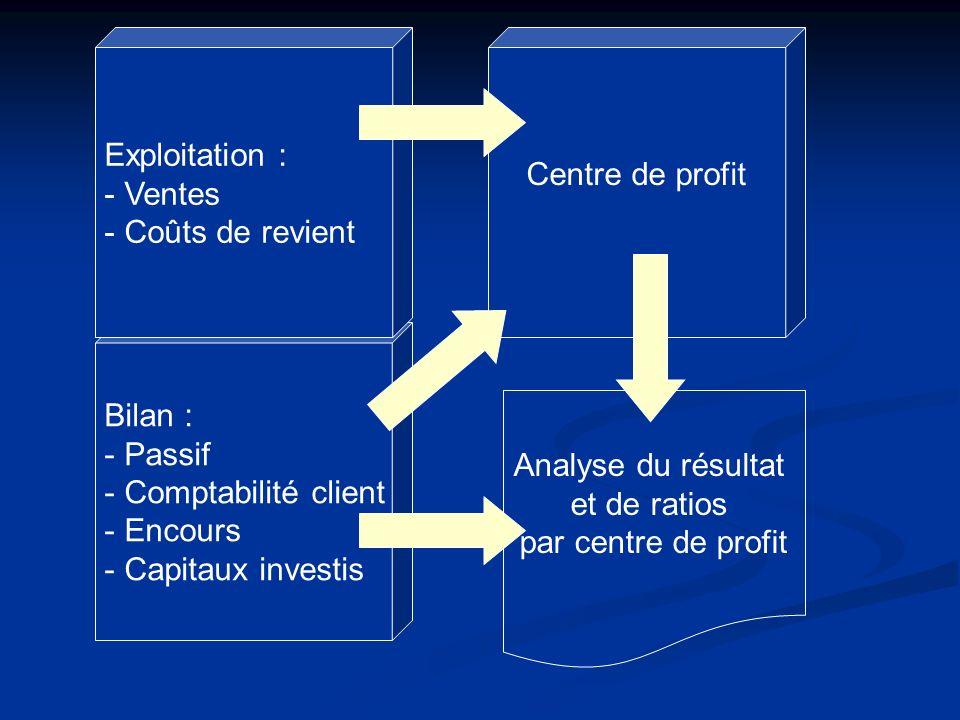 Bilan : - Passif - Comptabilité client - Encours - Capitaux investis Exploitation : - Ventes - Coûts de revient Centre de profit Analyse du résultat e