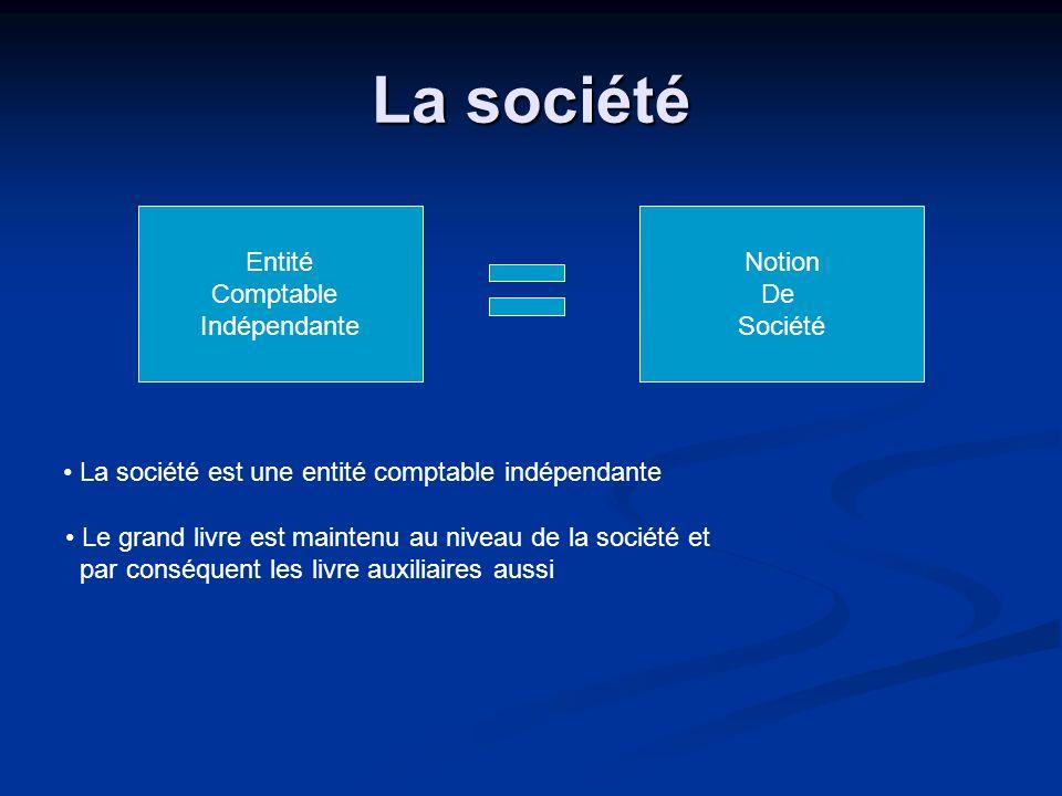 La société Entité Comptable Indépendante Notion De Société La société est une entité comptable indépendante Le grand livre est maintenu au niveau de l