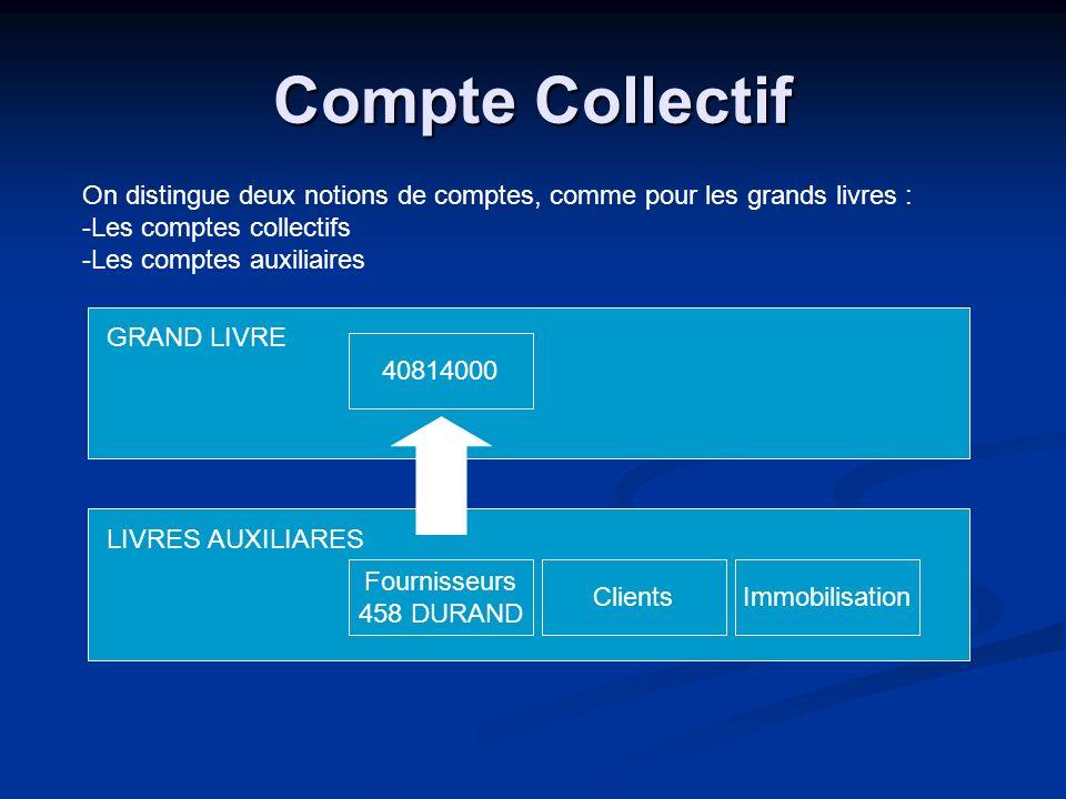 Compte Collectif On distingue deux notions de comptes, comme pour les grands livres : -Les comptes collectifs -Les comptes auxiliaires GRAND LIVRE LIV