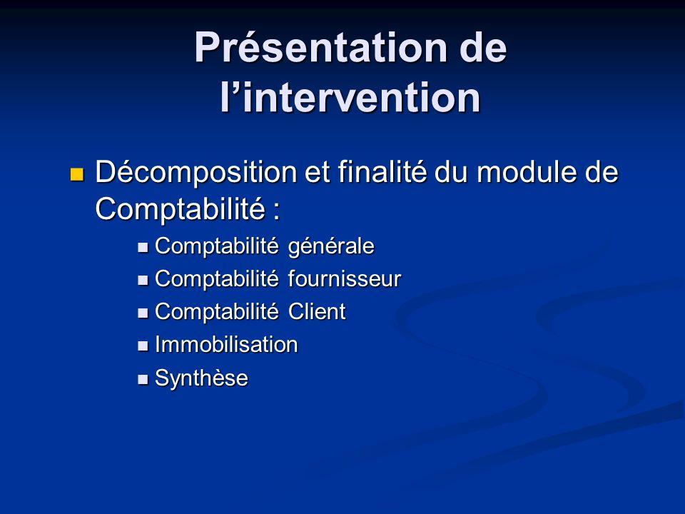 Présentation de lintervention Décomposition et finalité du module de Comptabilité : Décomposition et finalité du module de Comptabilité : Comptabilité