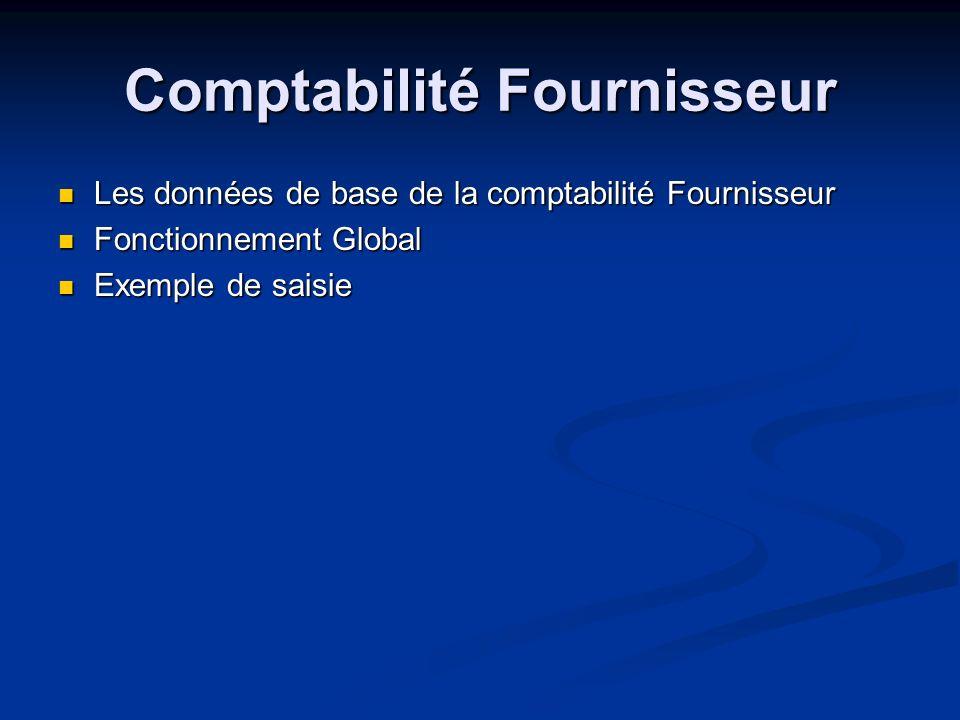 Comptabilité Fournisseur Les données de base de la comptabilité Fournisseur Les données de base de la comptabilité Fournisseur Fonctionnement Global F