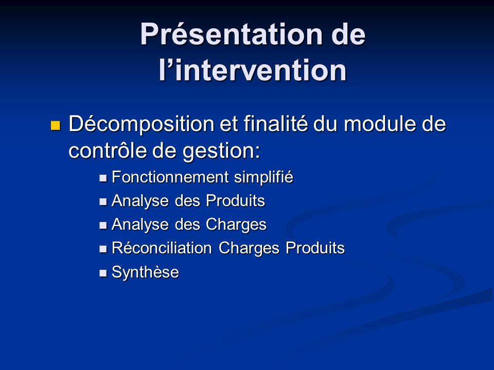 Présentation de lintervention Décomposition et finalité du module de contrôle de gestion: Décomposition et finalité du module de contrôle de gestion: