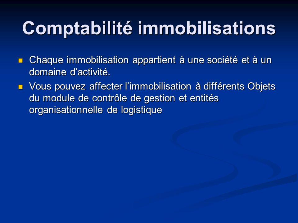 Comptabilité immobilisations Chaque immobilisation appartient à une société et à un domaine dactivité. Chaque immobilisation appartient à une société
