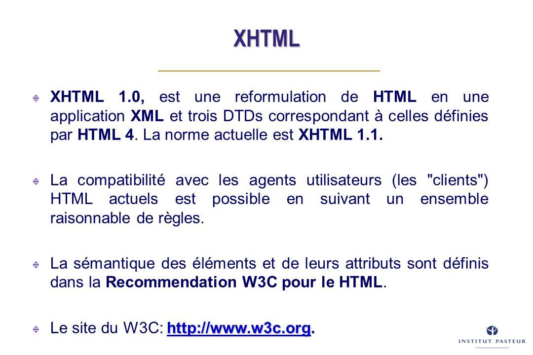 XHTML XHTML 1.0, est une reformulation de HTML en une application XML et trois DTDs correspondant à celles définies par HTML 4.