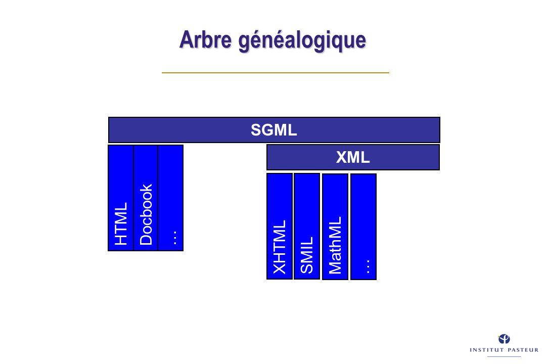 SGML XML HTMLDocbook… XHTMLSMIL MathML… Arbre généalogique