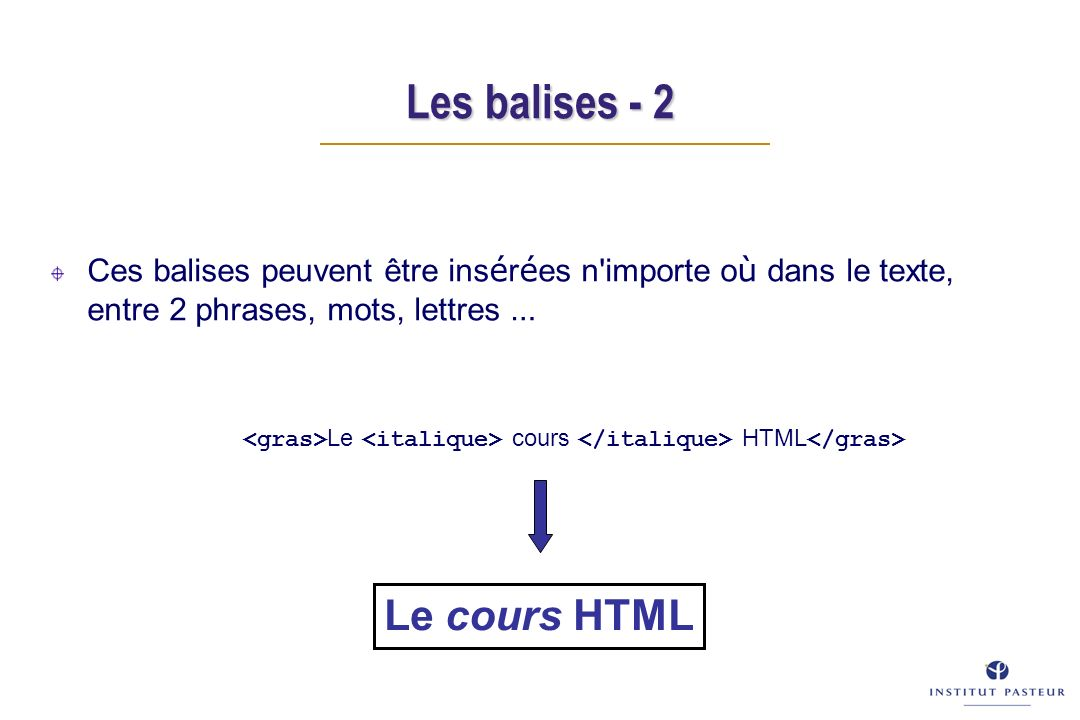 Les balises - 2 Ces balises peuvent être ins é r é es n importe o ù dans le texte, entre 2 phrases, mots, lettres … Le cours HTML